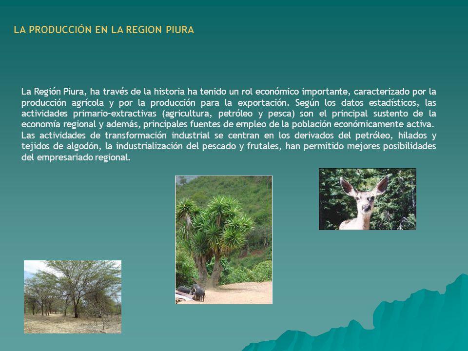 LA PRODUCCIÓN EN LA REGION PIURA La Región Piura, ha través de la historia ha tenido un rol económico importante, caracterizado por la producción agrí