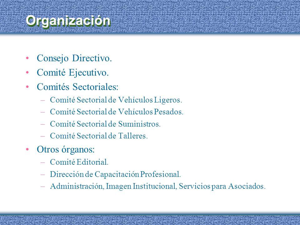 Organización Consejo Directivo. Comité Ejecutivo. Comités Sectoriales: –Comité Sectorial de Vehículos Ligeros. –Comité Sectorial de Vehículos Pesados.