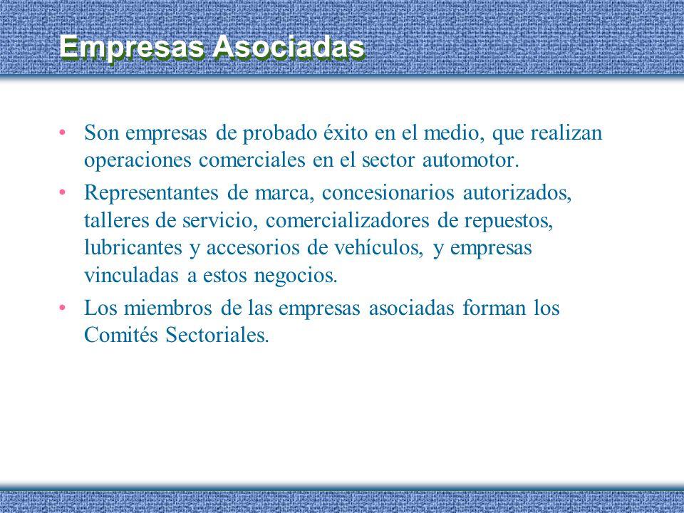 Empresas Asociadas Son empresas de probado éxito en el medio, que realizan operaciones comerciales en el sector automotor. Representantes de marca, co