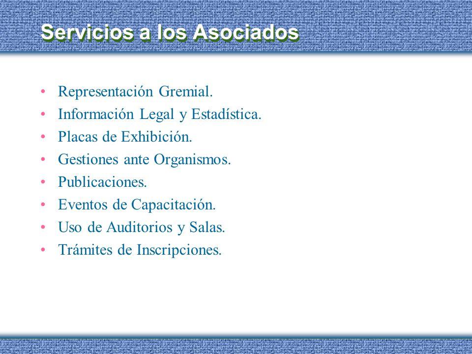 Servicios a los Asociados Representación Gremial. Información Legal y Estadística. Placas de Exhibición. Gestiones ante Organismos. Publicaciones. Eve