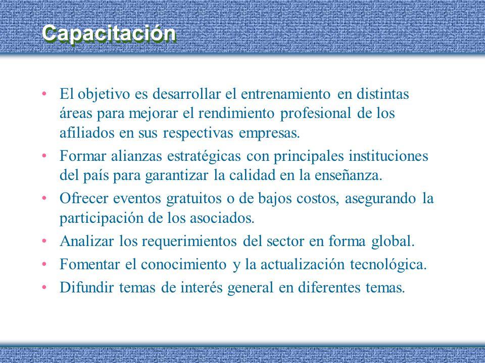 Capacitación El objetivo es desarrollar el entrenamiento en distintas áreas para mejorar el rendimiento profesional de los afiliados en sus respectiva