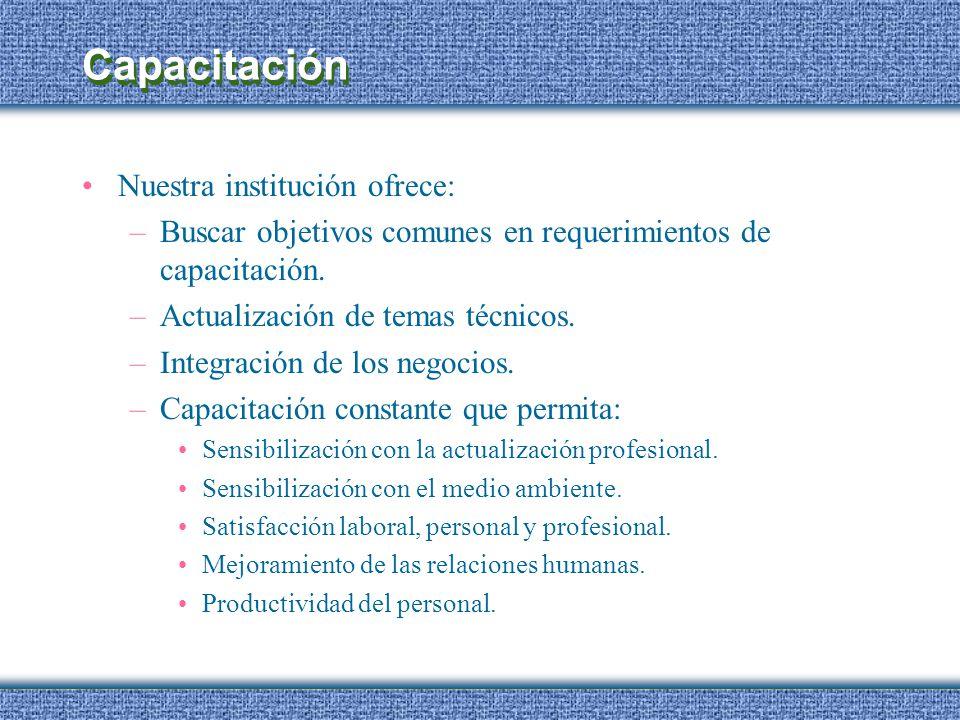 Capacitación Nuestra institución ofrece: –Buscar objetivos comunes en requerimientos de capacitación. –Actualización de temas técnicos. –Integración d