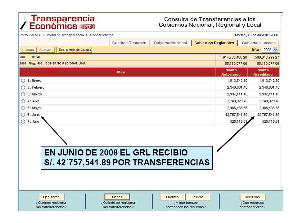 EN JUNIO DE 2008 EL GRL RECIBIO S/. 42´757,541.89 POR TRANSFERENCIAS