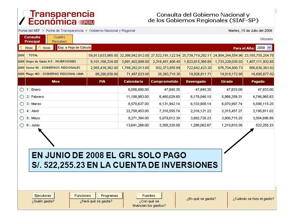 EN JUNIO DE 2008 EL GRL SOLO PAGO S/. 522,255.23 EN LA CUENTA DE INVERSIONES