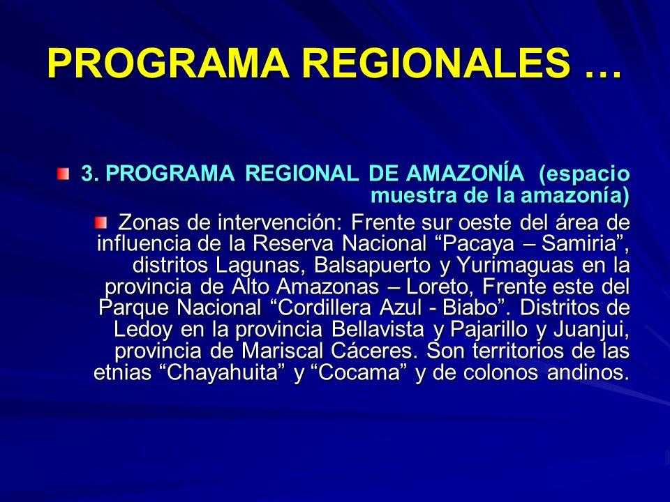 PROGRAMA REGIONALES … 3. PROGRAMA REGIONAL DE AMAZONÍA (espacio muestra de la amazonía) Zonas de intervención: Frente sur oeste del área de influencia