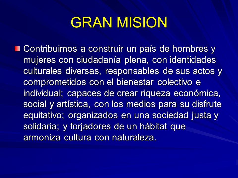GRAN MISION Contribuimos a construir un país de hombres y mujeres con ciudadanía plena, con identidades culturales diversas, responsables de sus actos