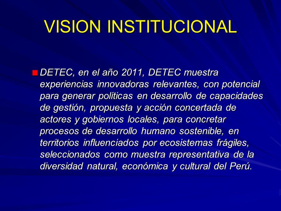 VISION INSTITUCIONAL DETEC, en el año 2011, DETEC muestra experiencias innovadoras relevantes, con potencial para generar políticas en desarrollo de c