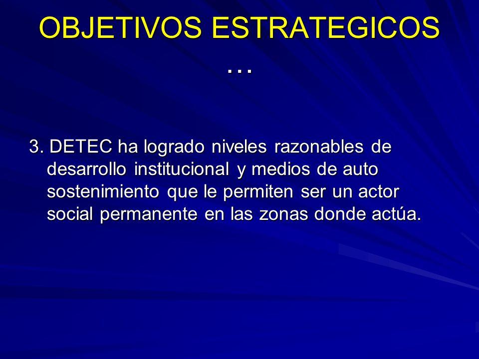OBJETIVOS ESTRATEGICOS … 3. DETEC ha logrado niveles razonables de desarrollo institucional y medios de auto sostenimiento que le permiten ser un acto