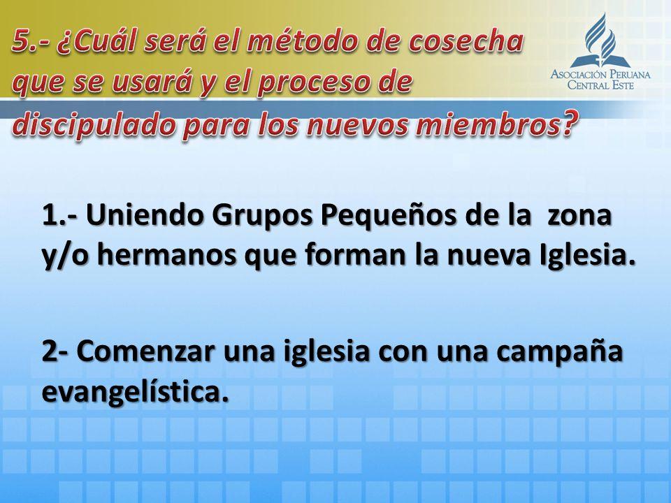 1.- Uniendo Grupos Pequeños de la zona y/o hermanos que forman la nueva Iglesia. 2- Comenzar una iglesia con una campaña evangelística.