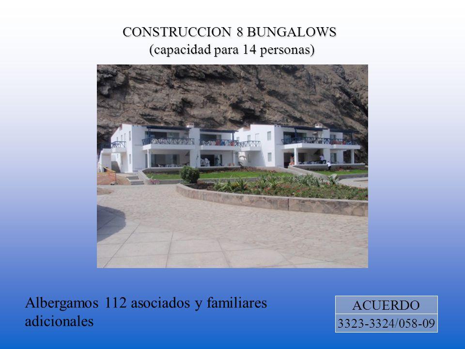 CONSTRUCCION 8 BUNGALOWS (capacidad para 14 personas) ACUERDO 3323-3324/058-09 Albergamos 112 asociados y familiares adicionales