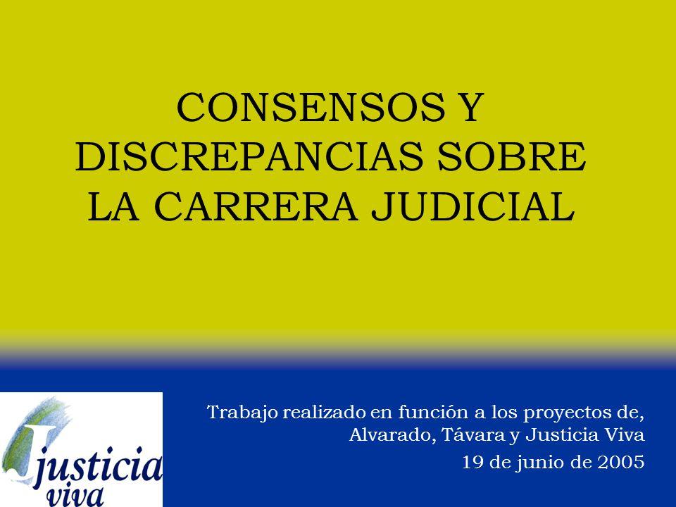 CONSENSOS Y DISCREPANCIAS SOBRE LA CARRERA JUDICIAL Trabajo realizado en función a los proyectos de, Alvarado, Távara y Justicia Viva 19 de junio de 2005