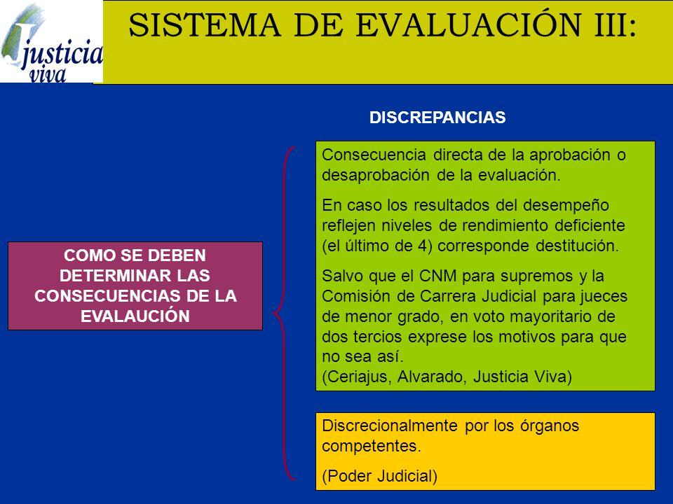 COMO SE DEBEN DETERMINAR LAS CONSECUENCIAS DE LA EVALAUCIÓN SISTEMA DE EVALUACIÓN III: Discrecionalmente por los órganos competentes.