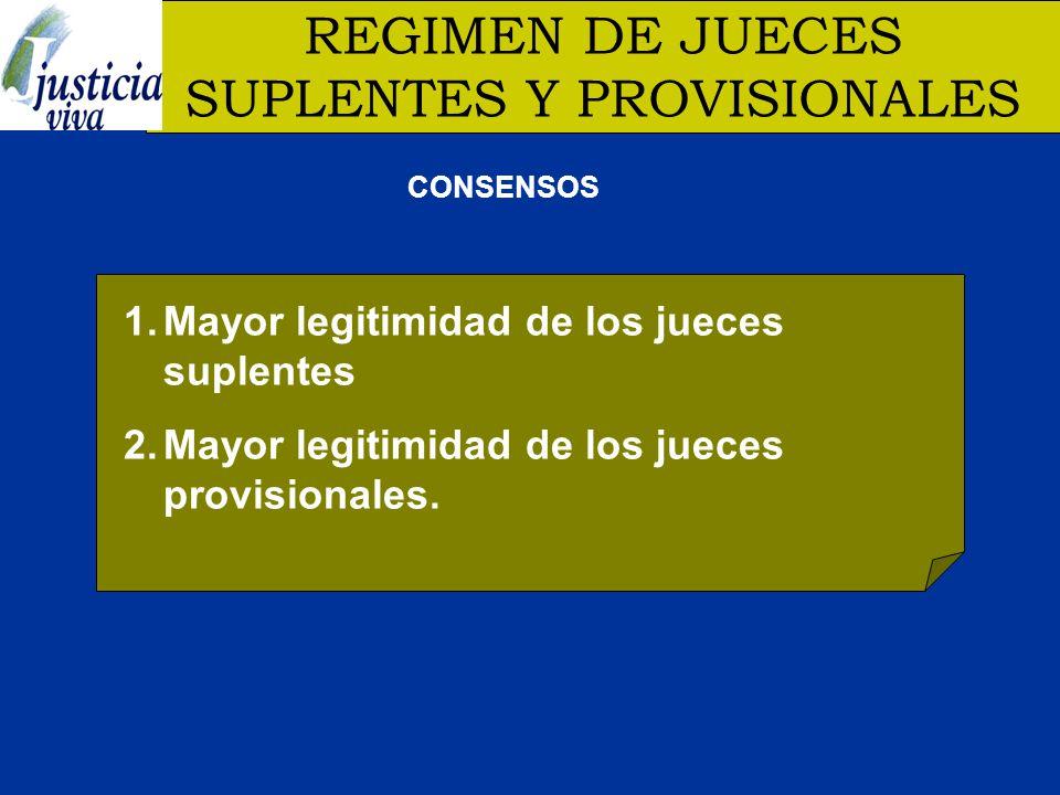 REGIMEN DE JUECES SUPLENTES Y PROVISIONALES 1.Mayor legitimidad de los jueces suplentes 2.Mayor legitimidad de los jueces provisionales.