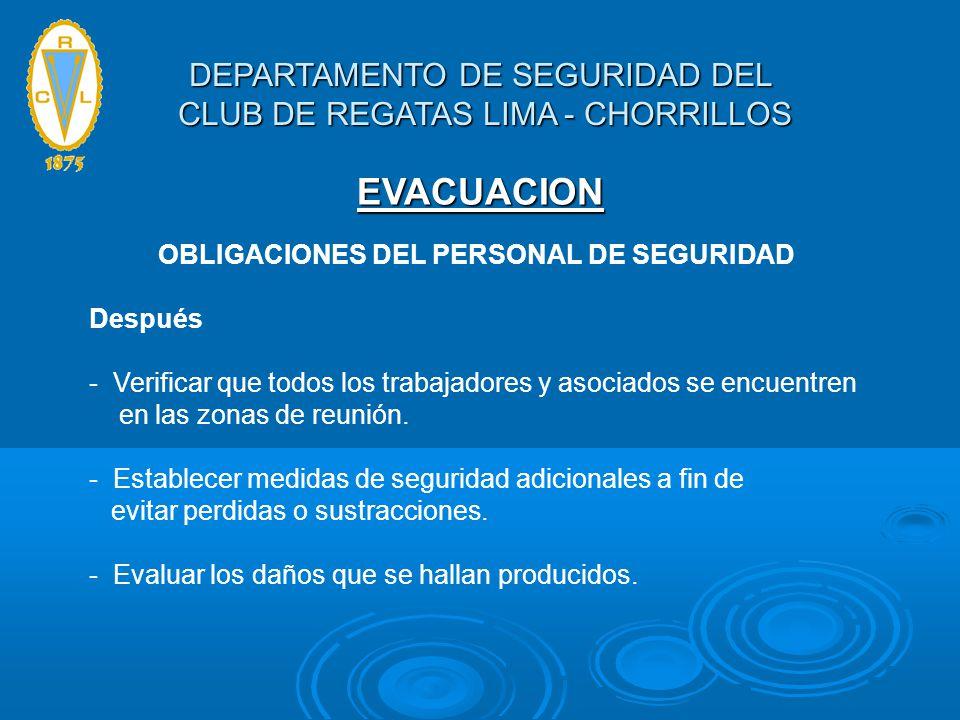 EVACUACION OBLIGACIONES DEL PERSONAL DE SEGURIDAD Después - Verificar que todos los trabajadores y asociados se encuentren en las zonas de reunión. -