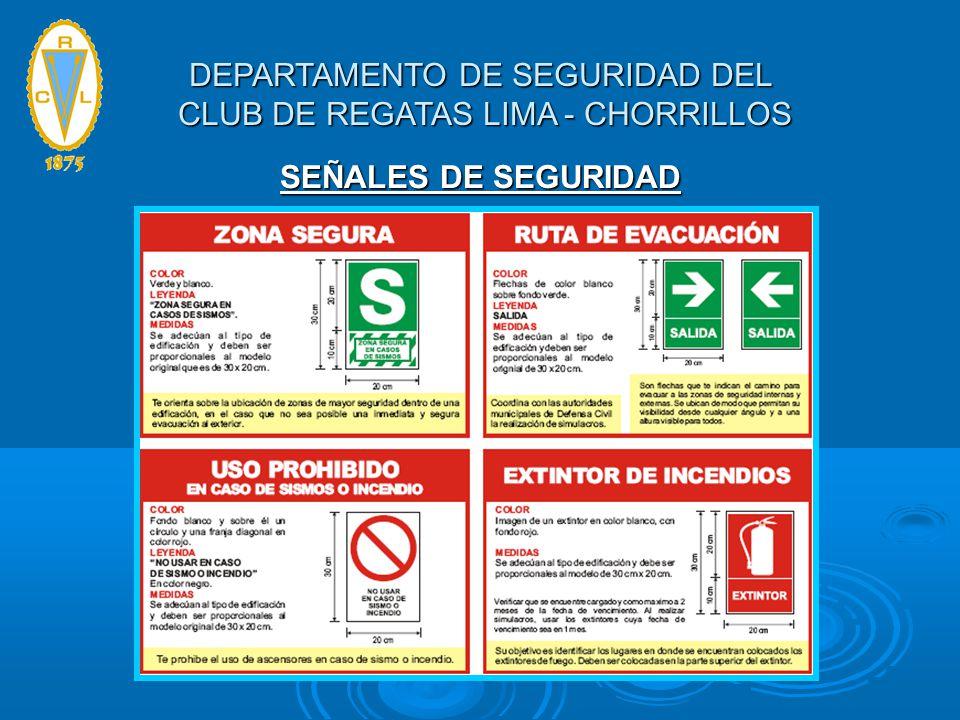SEÑALES DE SEGURIDAD DEPARTAMENTO DE SEGURIDAD DEL CLUB DE REGATAS LIMA - CHORRILLOS