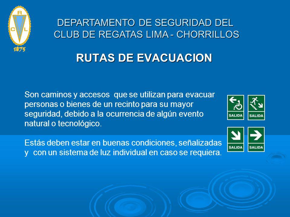 RUTAS DE EVACUACION Son caminos y accesos que se utilizan para evacuar personas o bienes de un recinto para su mayor seguridad, debido a la ocurrencia