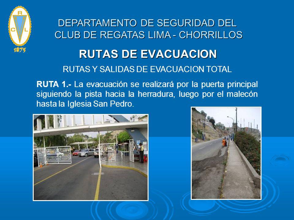RUTAS DE EVACUACION RUTAS Y SALIDAS DE EVACUACION TOTAL RUTA 1.- La evacuación se realizará por la puerta principal siguiendo la pista hacia la herrad