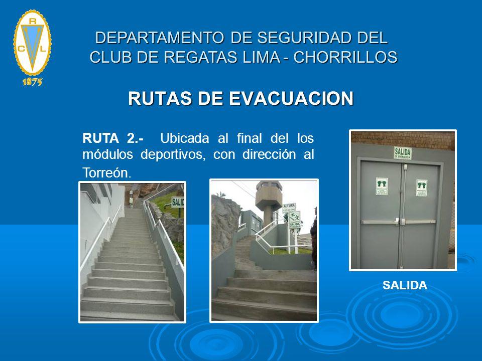 RUTAS DE EVACUACION RUTA 2.- Ubicada al final del los módulos deportivos, con dirección al Torreón. SALIDA DEPARTAMENTO DE SEGURIDAD DEL CLUB DE REGAT