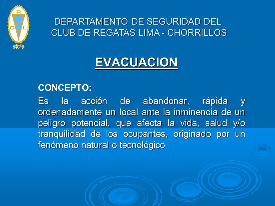 EVACUACION : CONCEPTO: Es la acción de abandonar, rápida y ordenadamente un local ante la inminencia de un peligro potencial, que afecta la vida, salu