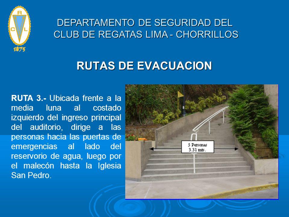 RUTAS DE EVACUACION RUTA 3.- Ubicada frente a la media luna al costado izquierdo del ingreso principal del auditorio, dirige a las personas hacia las