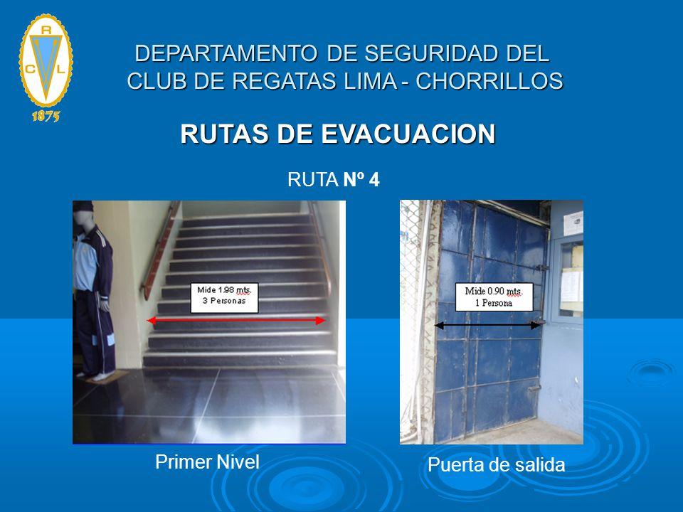 RUTAS DE EVACUACION RUTA Nº 4 Primer Nivel Puerta de salida DEPARTAMENTO DE SEGURIDAD DEL CLUB DE REGATAS LIMA - CHORRILLOS