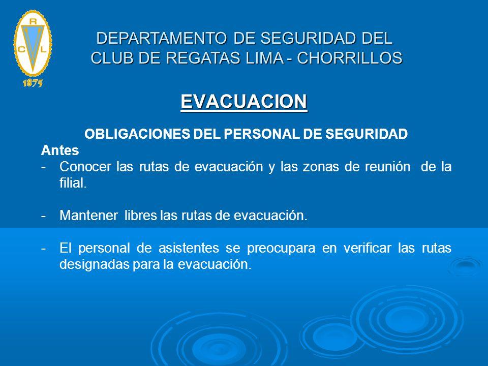 EVACUACION OBLIGACIONES DEL PERSONAL DE SEGURIDAD Antes -Conocer las rutas de evacuación y las zonas de reunión de la filial. -Mantener libres las rut