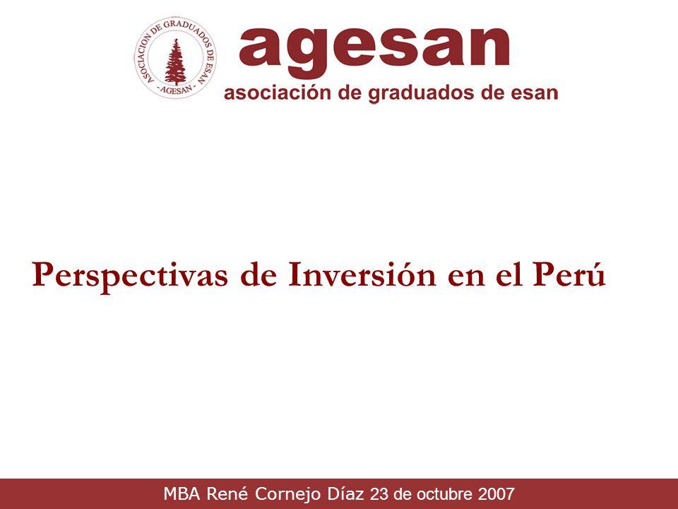 Perspectivas de Inversión en el Perú MBA René Cornejo Díaz 23 de octubre 2007