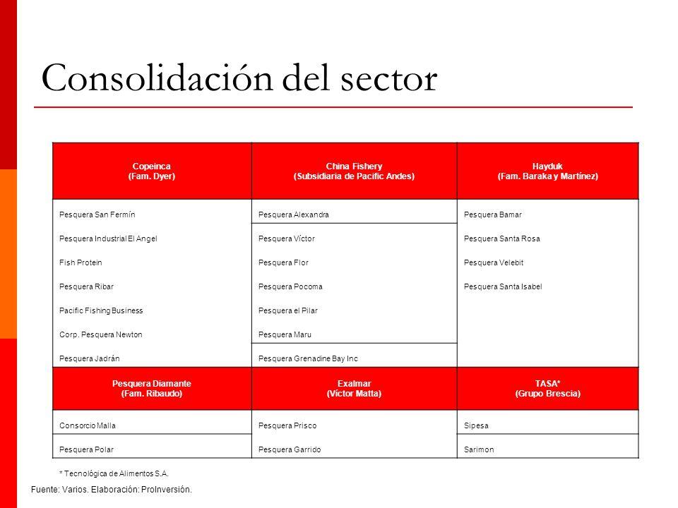 Consolidación del sector Copeinca (Fam. Dyer) China Fishery (Subsidiaria de Pacific Andes) Hayduk (Fam. Baraka y Martínez) Pesquera San FermínPesquera