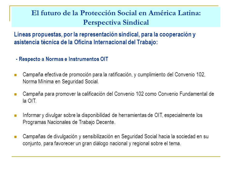 El futuro de la Protección Social en América Latina: Perspectiva Sindical Líneas propuestas, por la representación sindical, para la cooperación y asistencia técnica de la Oficina Internacional del Trabajo: Campaña efectiva de promoción para la ratificación, y cumplimiento del Convenio 102, Norma Mínima en Seguridad Social.