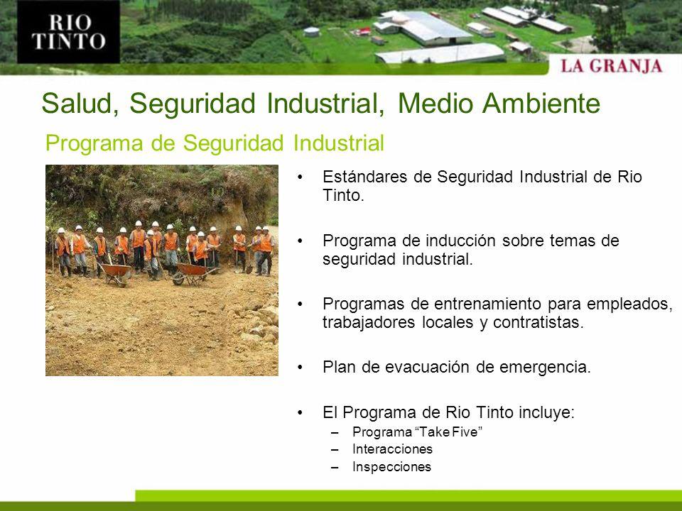 Salud, Seguridad Industrial, Medio Ambiente Estándares de Seguridad Industrial de Rio Tinto. Programa de inducción sobre temas de seguridad industrial