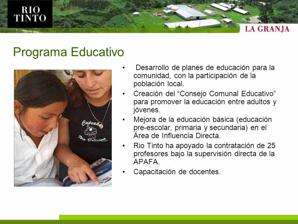 Programa Educativo Desarrollo de planes de educación para la comunidad, con la participación de la población local. Creación del Consejo Comunal Educa