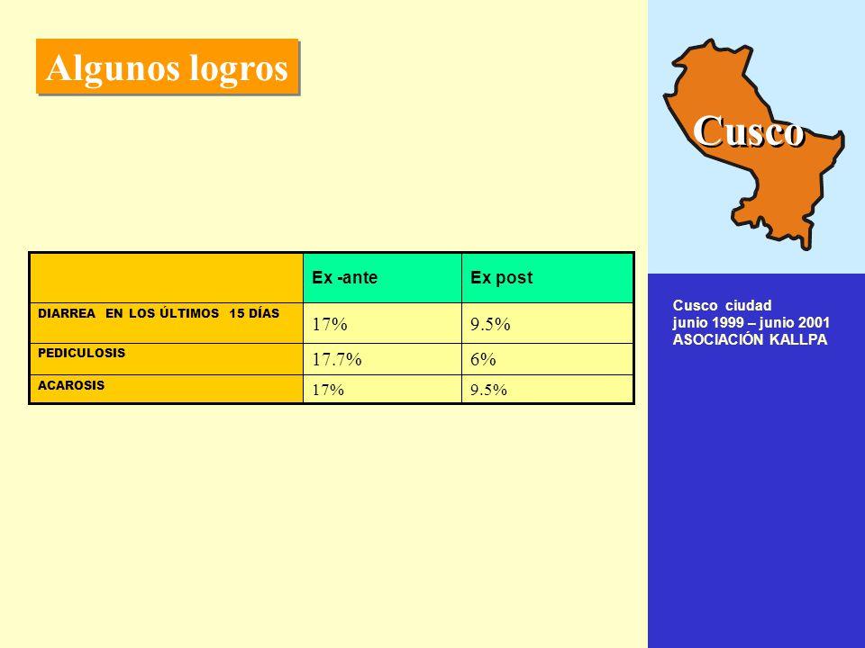 Algunos logros Algunos logros 6.11%11.10%20.94%24.70% si ENFERMEDADES DIARREICAS AGUDAS 40.7%78.8%55.2%82.3% Positivo PARASITOSIS 2.6%9.4% Pediculosis o piojos 7.9%21.1% Hongos en los pies 0.0%6.1%0.6%10.0% Piodermitis o impétigo 0.4%8.3%0.9%3.3% Hongos en la cabeza 0.9%11.1%3.2%3.8% Sarna 1.7%13.9%0.3%4.3% Hongos en las manos ENFERMEDADES DE LA PIEL Ex post 2002Ex ante 1999Ex post 2002Ex ante 1999 SECUNDARIA PRIMARIA Cusco Quillabamba 1999 - 2002 ASOCIACIÓN KALLPA Cusco