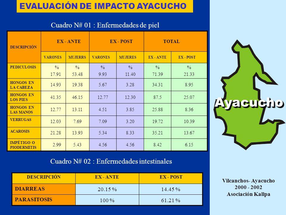 10.75%21.37%5.49%17.39% DIARREA EN LOS ÚLTIMOS 15 DÍAS 1.43%3.82%1.09%10.87% DIARREA EL DIA ANTERIOR 0.49%1.77%2.22%3.26% DESNUTRICIÓN AGUDA Ex postEx anteEx postEx ante PRIMARIA INICIAL Cono sur de Lima Abril 1999 – Abril 2001 ASOCIACIÓN KALLPA Lima