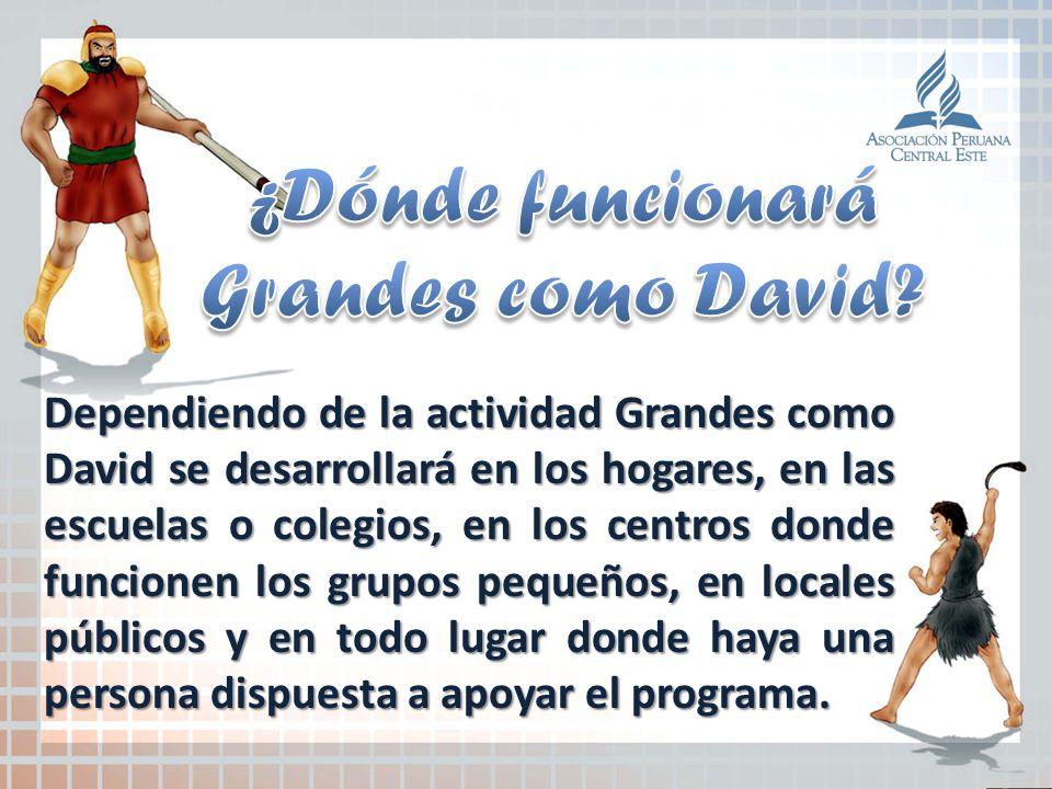 Dependiendo de la actividad Grandes como David se desarrollará en los hogares, en las escuelas o colegios, en los centros donde funcionen los grupos p