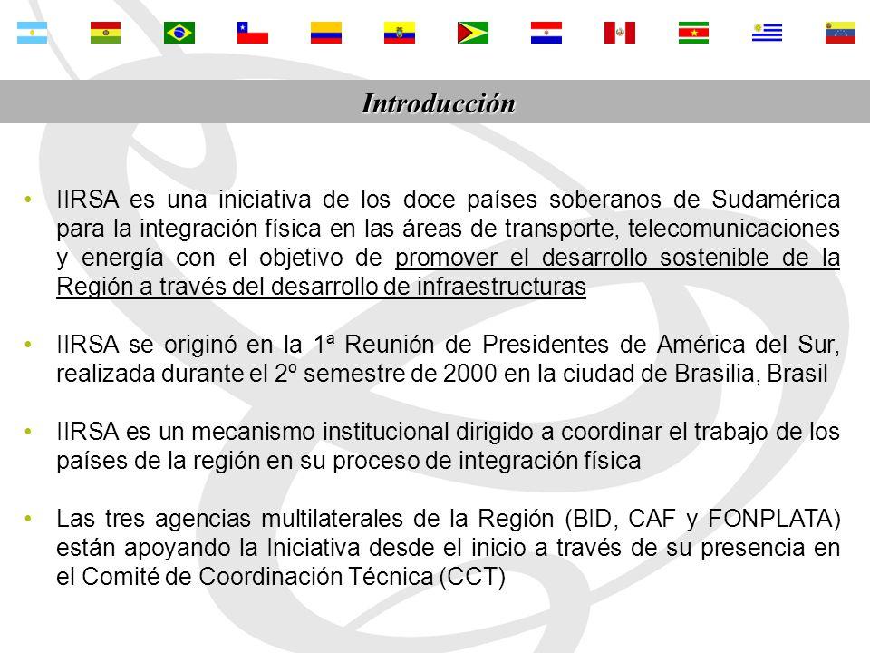 IIRSA no es una fuente nueva de financiamiento; es un mecanismo institucional para coordinar los paises suramericanos en su proceso de integración física La Iniciativa IIRSA se consolidó como una instancia fundamental para la construcción de una agenda común de acciones y proyectos para la integración física La aplicación de una metodología de planificación territorial indicativa permitió, por primera vez en la historia de Suramérica, conformar una cartera de proyectos de infraestructura de integración bajo una visión regional y consensuada entre los 12 países de América del Sur IIRSA completó la primera parte de su mandato de 10 años conferido por los Presidentes en septiembre de 2000 y tiene por delante cinco años de grandes retos y esfuerzos para la implementación de los cuatro nuevos objetivos estrategicos La presencia del BID, de la CAF y de FONPLATA en la coordinación de la Iniciativa ha facilitado la consecución de los logros de IIRSA y es fundamental en la etapa que se inicia Conclusiones