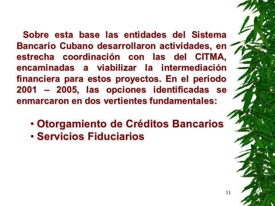 11 Sobre esta base las entidades del Sistema Bancario Cubano desarrollaron actividades, en estrecha coordinación con las del CITMA, encaminadas a viabilizar la intermediación financiera para estos proyectos.