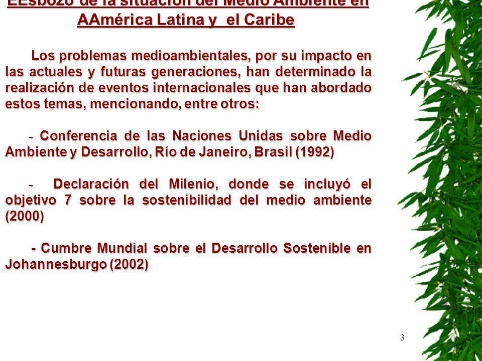 4 No obstante los compromisos, los fines trazados y los esfuerzos realizados al respecto en la región, en la actualidad se considera que: En América Latina y el Caribe, la sostenibilidad ambiental del desarrollo está cada vez más en riesgo*.