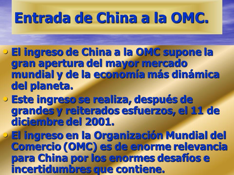 Entrada de China a la OMC. El ingreso de China a la OMC supone la gran apertura del mayor mercado mundial y de la economía más dinámica del planeta. E