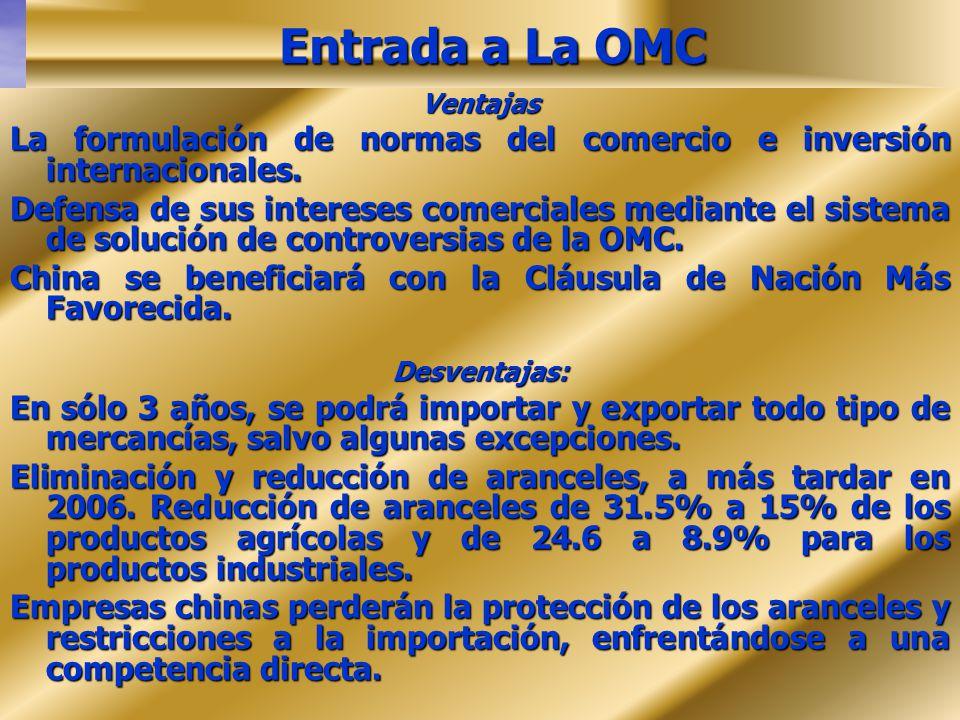 Entrada a La OMC Ventajas La formulación de normas del comercio e inversión internacionales. Defensa de sus intereses comerciales mediante el sistema