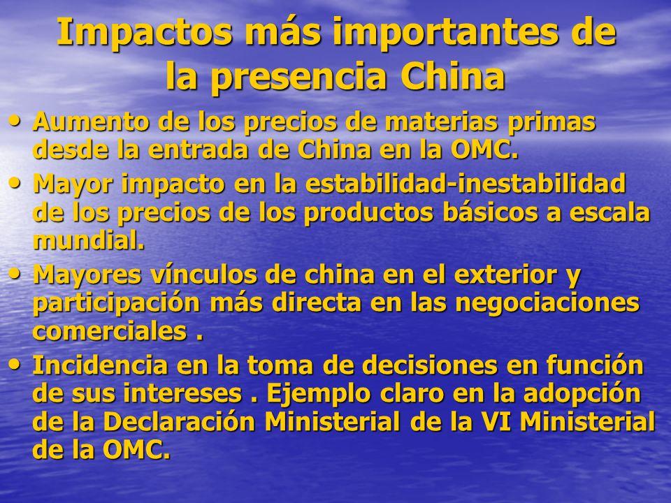 Impactos más importantes de la presencia China Aumento de los precios de materias primas desde la entrada de China en la OMC. Aumento de los precios d