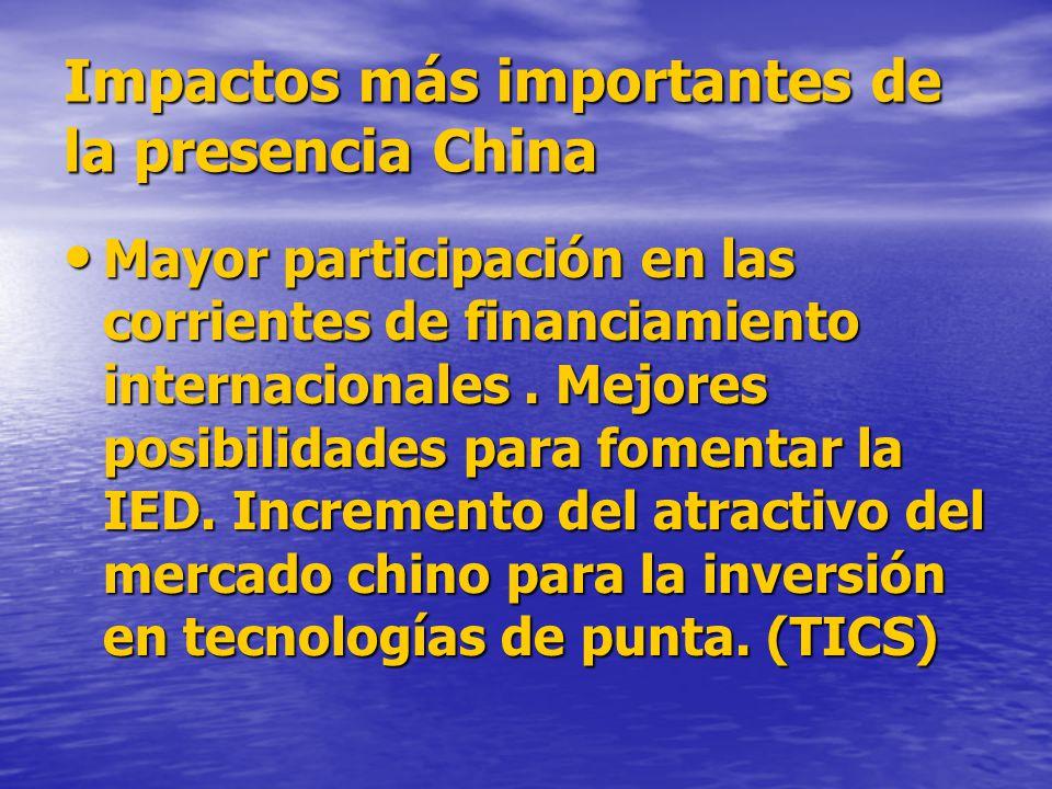 Impactos más importantes de la presencia China Mayor participación en las corrientes de financiamiento internacionales.