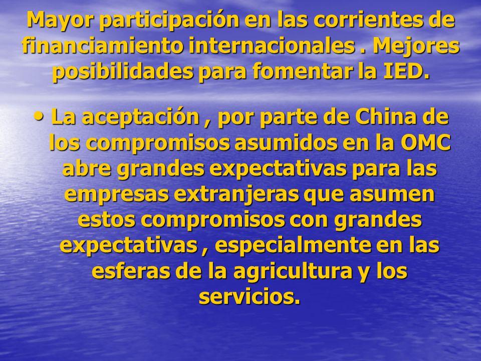 Mayor participación en las corrientes de financiamiento internacionales. Mejores posibilidades para fomentar la IED. La aceptación, por parte de China
