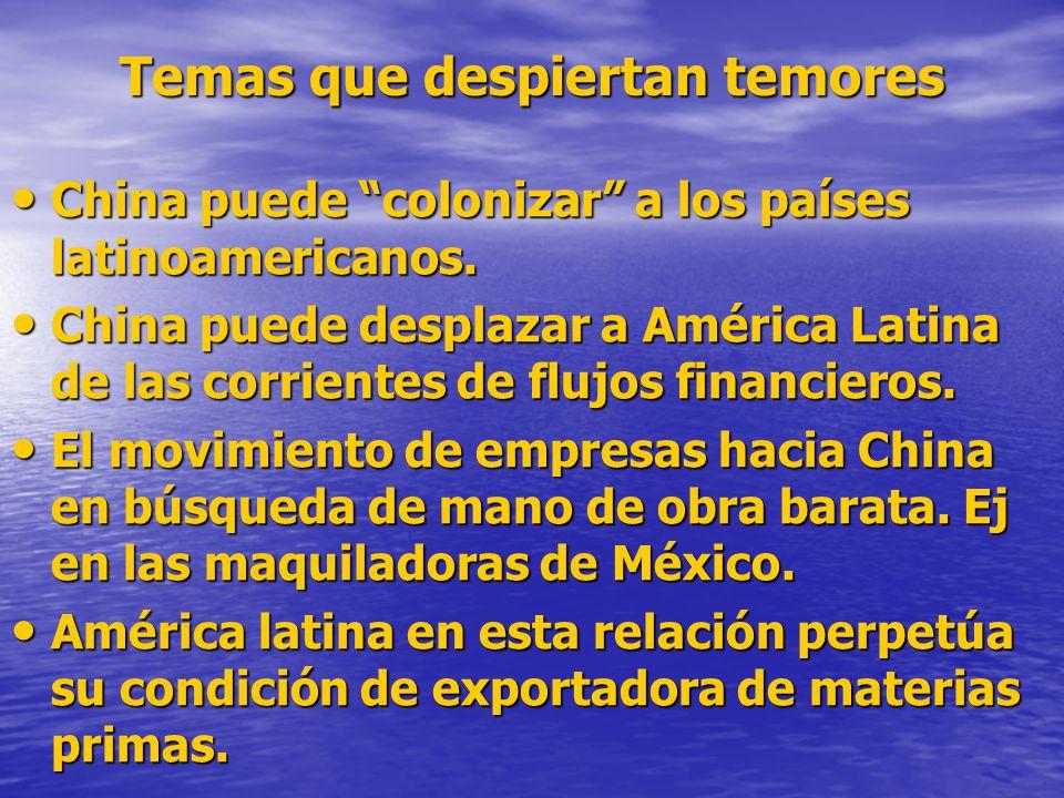 Temas que despiertan temores China puede colonizar a los países latinoamericanos.