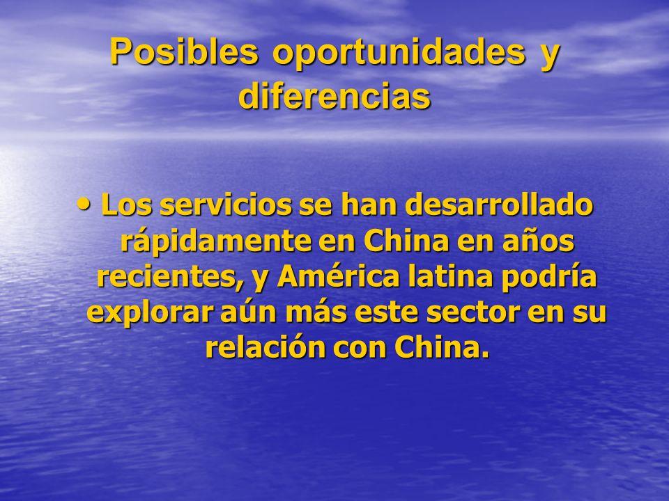 Posibles oportunidades y diferencias Los servicios se han desarrollado rápidamente en China en años recientes, y América latina podría explorar aún más este sector en su relación con China.
