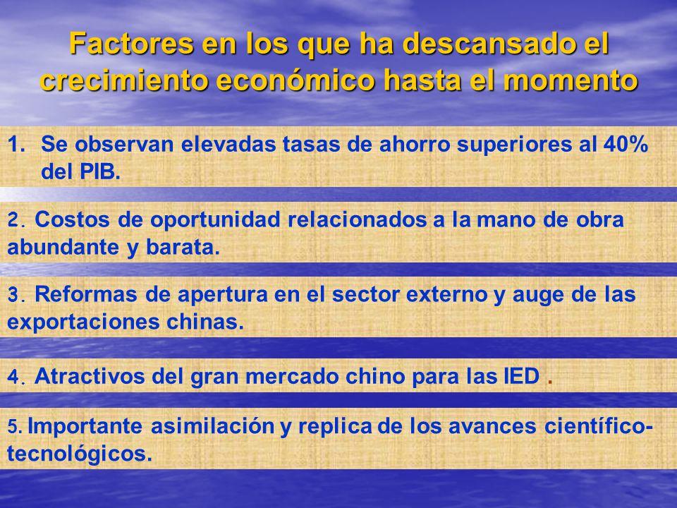 Factores en los que ha descansado el crecimiento económico hasta el momento 1.Se observan elevadas tasas de ahorro superiores al 40% del PIB. 2. Costo