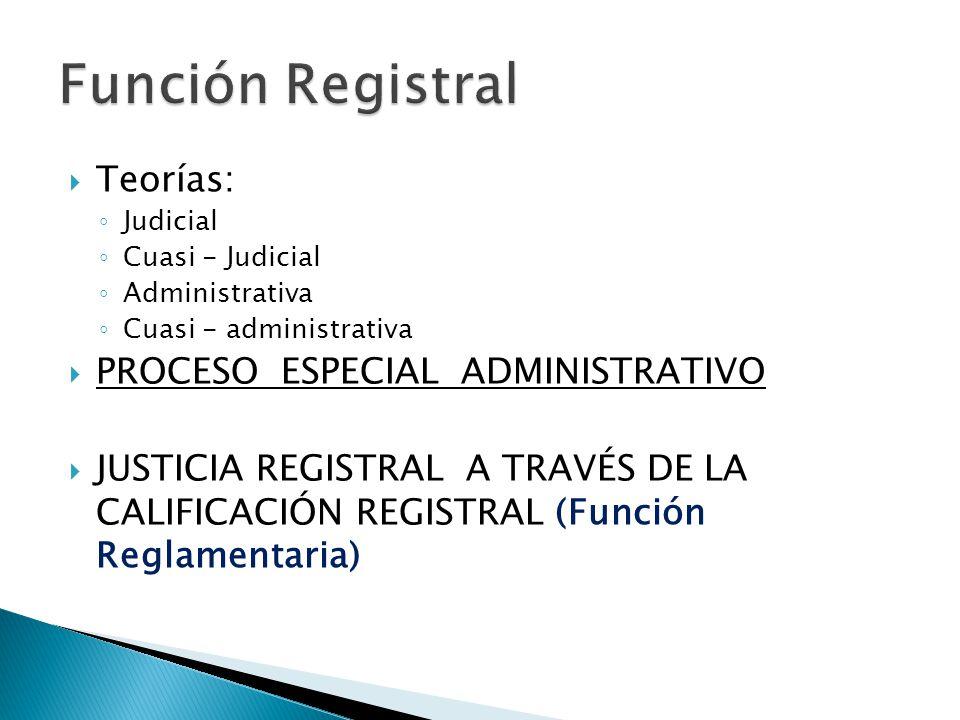 Teorías: Judicial Cuasi - Judicial Administrativa Cuasi - administrativa PROCESO ESPECIAL ADMINISTRATIVO JUSTICIA REGISTRAL A TRAVÉS DE LA CALIFICACIÓN REGISTRAL (Función Reglamentaria)