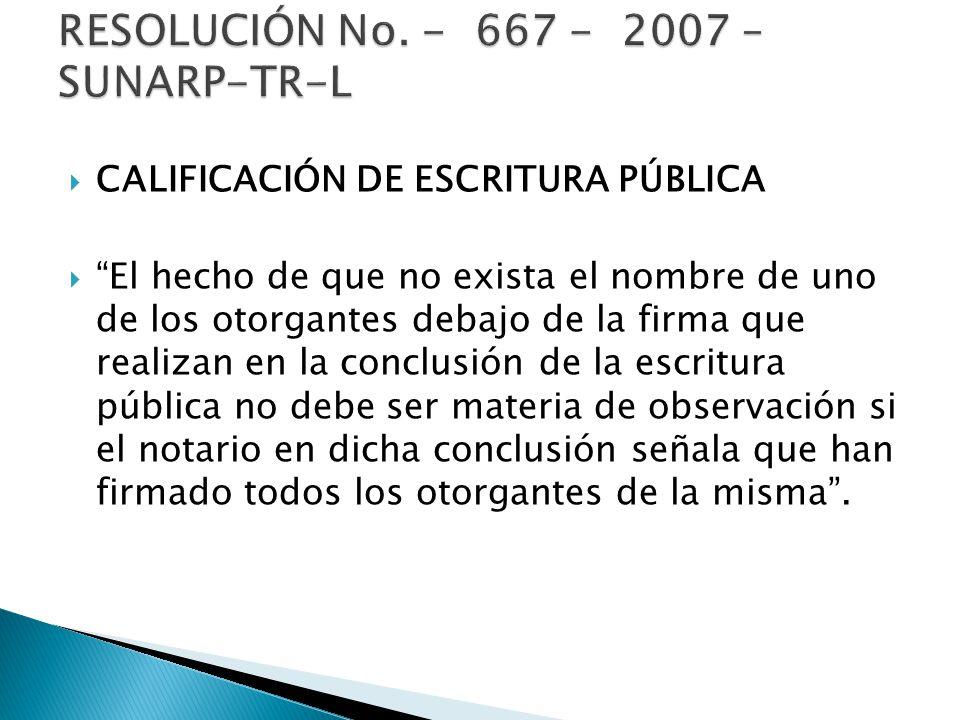 CALIFICACIÓN DE ESCRITURA PÚBLICA El hecho de que no exista el nombre de uno de los otorgantes debajo de la firma que realizan en la conclusión de la
