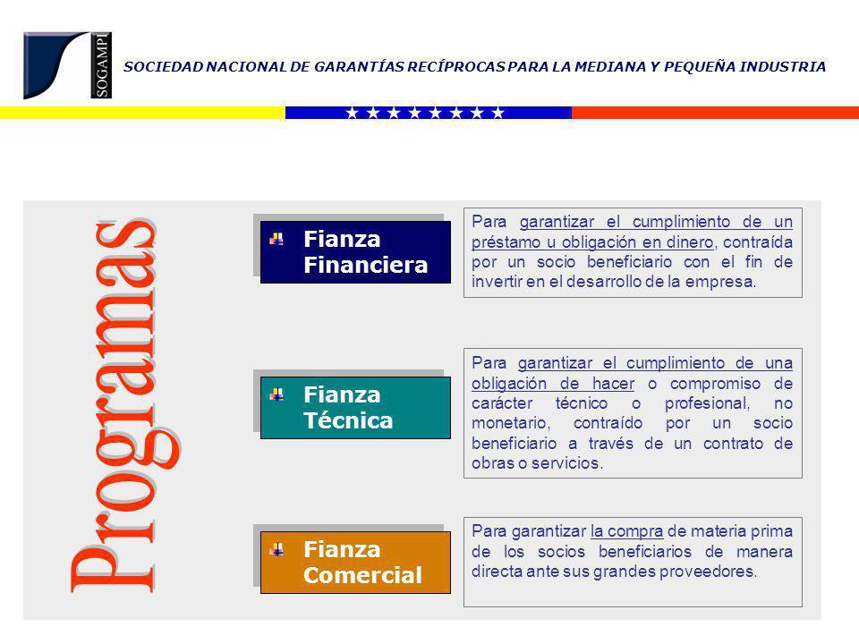 SOCIEDAD NACIONAL DE GARANTÍAS RECÍPROCAS PARA LA MEDIANA Y PEQUEÑA INDUSTRIA TIPO DE FIANZA DESTINOINSTRUMENTOACREEDOR FINANCIERA Capital de trabajo Adquisición de maquinaria y equipos Adquisición, construcción y/o remodelación de galpones o locales Instalación de empresas Transporte utilitario Transporte de carga mediana Transporte de carga pesada Sector turismo Contrato de Préstamo Ente Financiero.