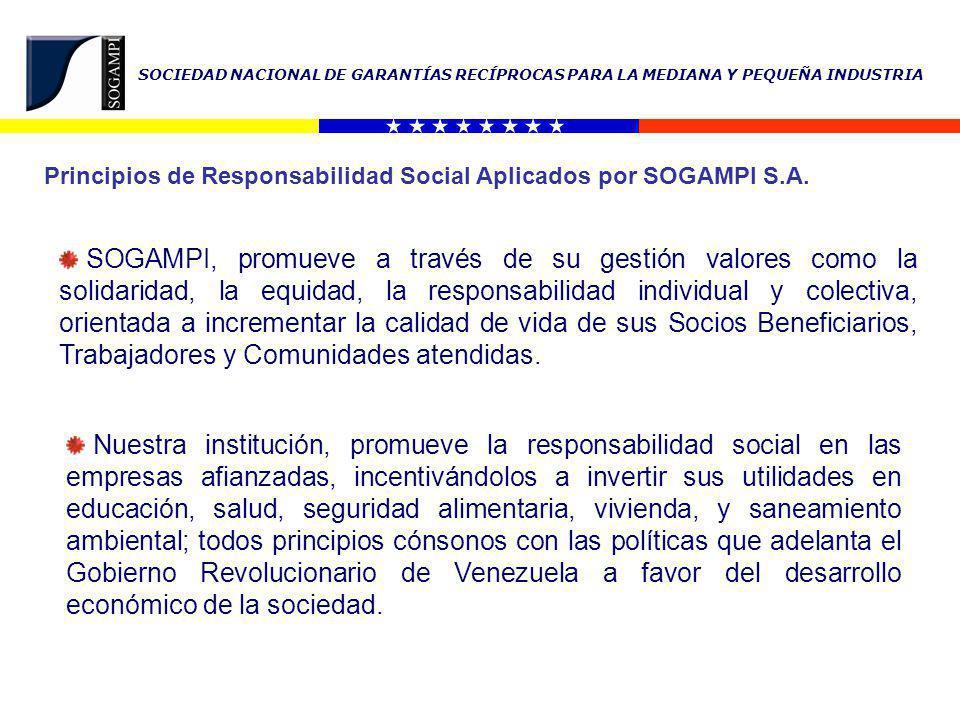 SOCIEDAD NACIONAL DE GARANTÍAS RECÍPROCAS PARA LA MEDIANA Y PEQUEÑA INDUSTRIA Principios de Responsabilidad Social Aplicados por SOGAMPI S.A.