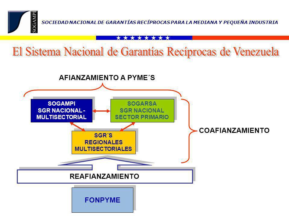 SOCIEDAD NACIONAL DE GARANTÍAS RECÍPROCAS PARA LA MEDIANA Y PEQUEÑA INDUSTRIA 8 3 12 SGR´s REGIONALES (En Funcionamiento) Edo.